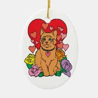 Cat has lots of Love Ceramic Ornament