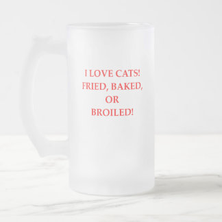cat hater frosted glass beer mug