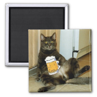 Cat Having A Beer Square Magnet