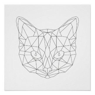 Cat Head Geometric Black & White Modern Art Print Perfect Poster