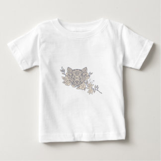 Cat Head Jasmine Flower Mandala Baby T-Shirt
