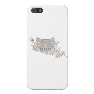 Cat Head Jasmine Flower Mandala iPhone 5 Cases
