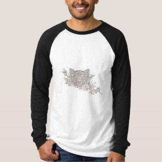 Cat Head Jasmine Flower Mandala T-Shirt