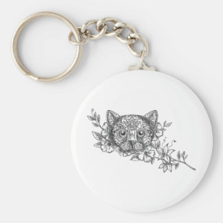 Cat Head Jasmine Flower Tattoo Basic Round Button Keychain