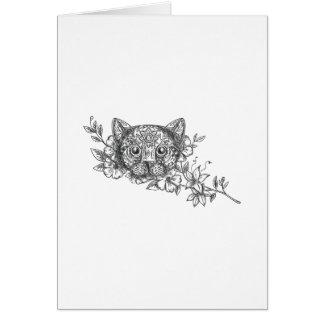 Cat Head Jasmine Flower Tattoo Card