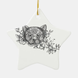 Cat Head Jasmine Flower Tattoo Ceramic Ornament