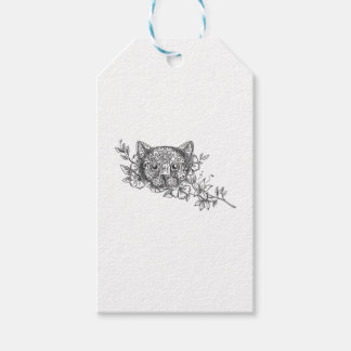 Cat Head Jasmine Flower Tattoo Gift Tags