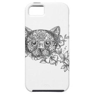 Cat Head Jasmine Flower Tattoo iPhone 5 Case