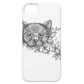 Cat Head Jasmine Flower Tattoo iPhone 5 Cover