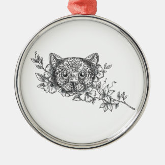Cat Head Jasmine Flower Tattoo Metal Ornament