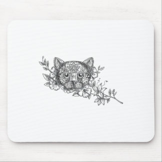 Cat Head Jasmine Flower Tattoo Mouse Pad