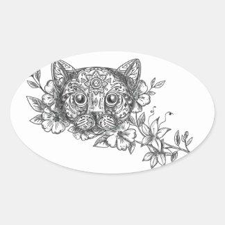 Cat Head Jasmine Flower Tattoo Oval Sticker