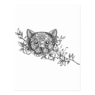Cat Head Jasmine Flower Tattoo Postcard