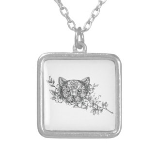 Cat Head Jasmine Flower Tattoo Silver Plated Necklace
