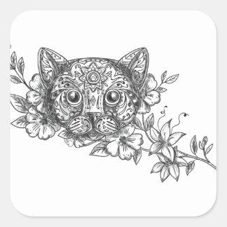 Cat Head Jasmine Flower Tattoo Square Sticker