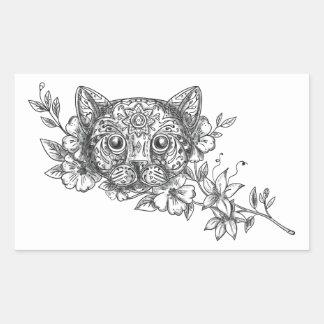 Cat Head Jasmine Flower Tattoo Sticker