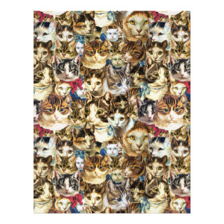 Cat heads 8.5x11 scrapbook paper, crazy cat lady letterhead