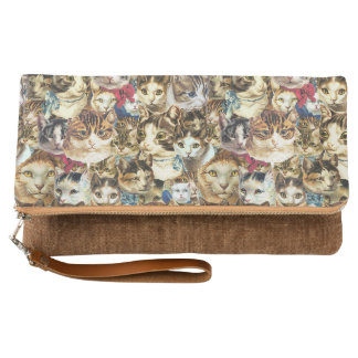 Cat heads foldover clutch crazy cat lady