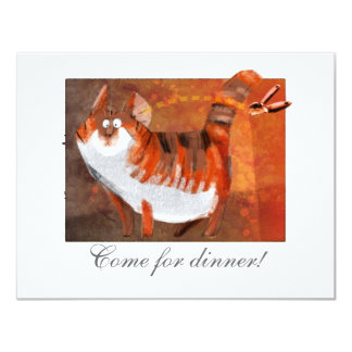 """cat hears a can-opener 4.25"""" x 5.5"""" invitation card"""