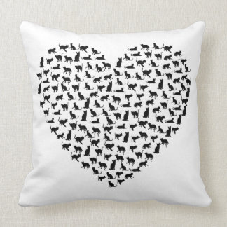 Cat Heart - Customisable Background Colour! Throw Pillow