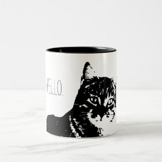 Cat Hello Black 11 oz Two-Tone Mug