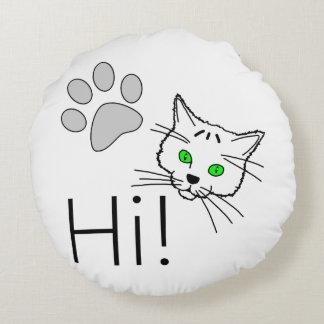 Cat - Hi! Round Pillow