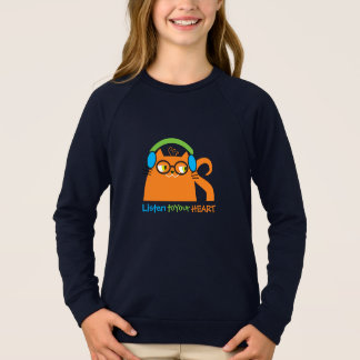 Cat Hipster Music Glasses Bright Modern Funny Cool Sweatshirt