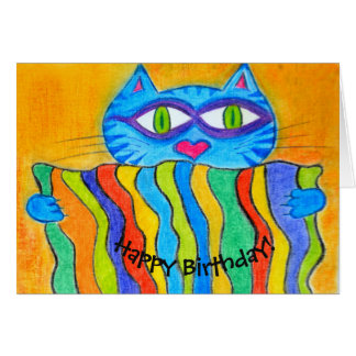 Cat holding company to rainbow blanket card