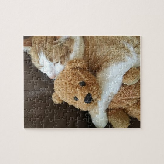 Cat holds old teddy bear jigsaw puzzle