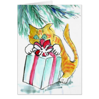 Cat Holiday attacking the Presents, Sumi-e Card