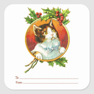 Cat & Holly Berry | To From Vintage Chrismtas Square Sticker