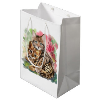 Cat hugs kitten medium gift bag