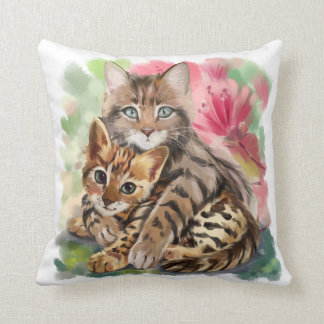 Cat hugs kitten throw pillow