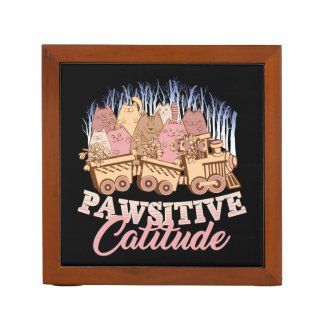 Cat Humor - Pawsitive Attitude - Funny Novelty Desk Organizer