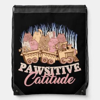 Cat Humor - Pawsitive Attitude - Funny Novelty Drawstring Bag