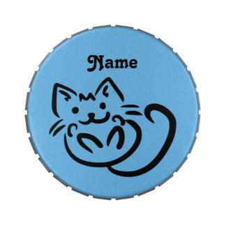 Cat Illustration custom color candy tin