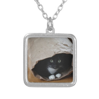 Cat in a bag 2 silver plated necklace