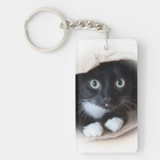 Cat in a bag keychain