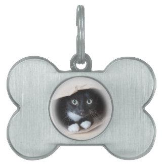 Cat in a bag pet tag