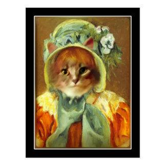 Cat in a Bonnet Postcard