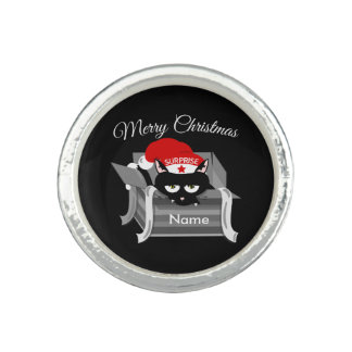 Cat in a box Merry Christmas Photo Rings