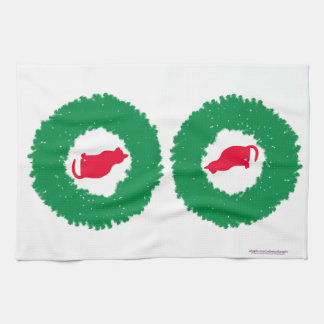 Cat In A Christmas Wreath| Holiday Cat & Wreath Towel