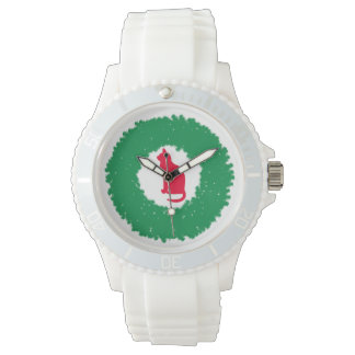 Cat In A Christmas Wreath| Holiday Cat & Wreath Wristwatches