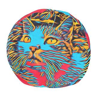 Cat In A Deep Art Design Pouf