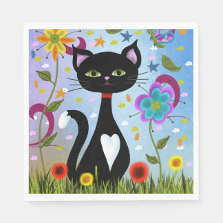 Cat In A Garden Abstract Art Paper Napkin