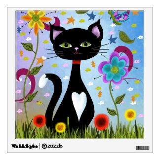 Cat In A Garden Abstract Art Wall Sticker