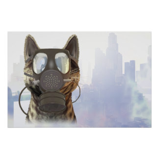 Cat in a gas mask ecology poster