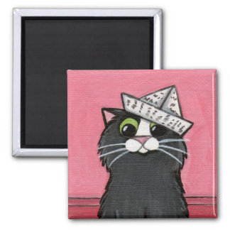 Cat in a Paper Hat Whimsical Magnet
