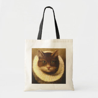 Cat In A Ruff Cute Victorian Art Vintage Painting Tote Bag