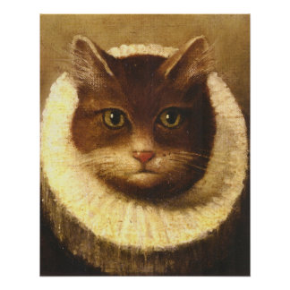 Cat In A Ruff Cute Victorian Art Vintage Painting Perfect Poster